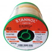 Stannol Sn99.3/Cu0.7 Crystal 511 Lead Free Solderwire 0.7mm 500gm