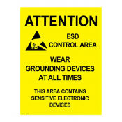 "Desco 06742 Antistatic Warning Poster 17"" x 22"""