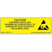 Desco 06770 Antistatic Warning Label 19x50mm Roll-500