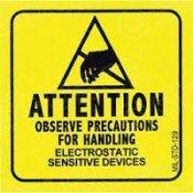 SCS 129LABEL Antistatic Warning Label 50x50mm Roll-500