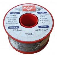 Multicore/Loctite 2% Silver Tin/Lead Crystal Solder Wire 0.35mm 250gm