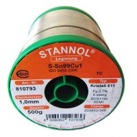Stannol Sn99.3/Cu0.7 Crystal 511 Lead Free Solderwire 1.0mm 500gm